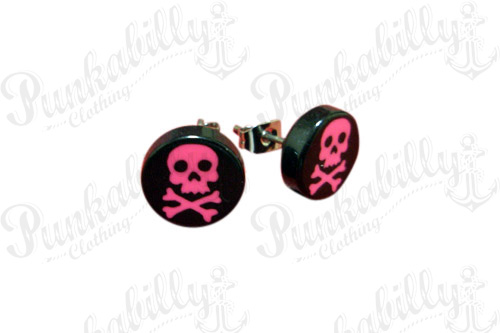 Black & Pink Crossbones Skull Punk Ear Studs