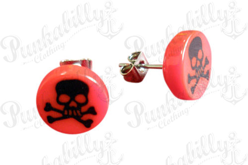 Red & Black Crossbones Skull Ear Studs