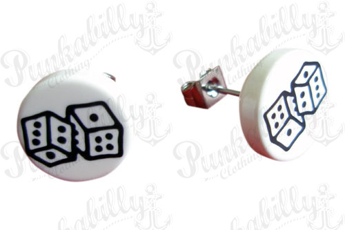 White & Black Dices Ear Studs