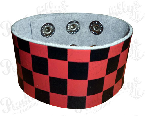 Black & Red Checked Leather Bracelet