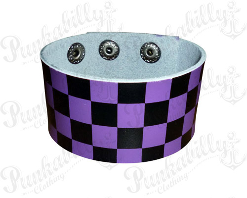 Purple & Black Checked Leather Bracelet