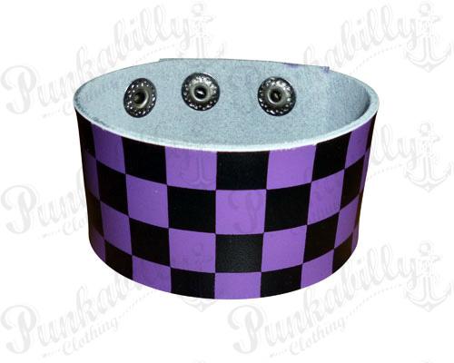 Purple & Black Checked Leather Bracelet