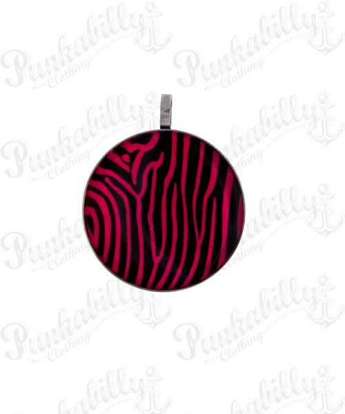 Stainless Steel Pink Zebra Pendant