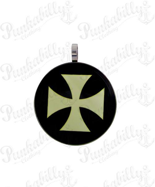 White Iron Cross Stainless steel Pendant