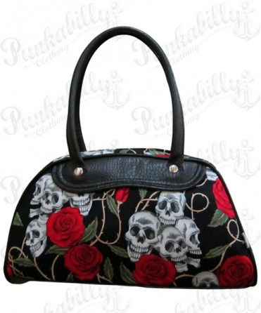Black Skulls & Roses Bowling Bag