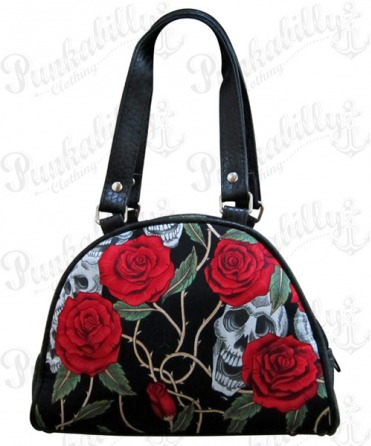 Black Skulls & Roses Mini Bowling Bag