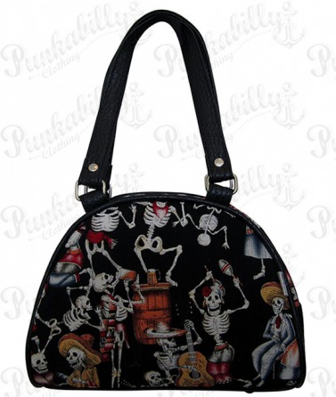 "Black ""Skulls Party"" Mini bowling bag"