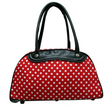 White Polka dots Red Rockabilly bowling Bag