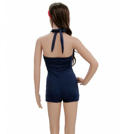Navy Blue Pin Up Swimsuit with red stripes
