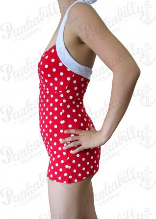 Red Pin Up Swimsuit with White Polka Dots