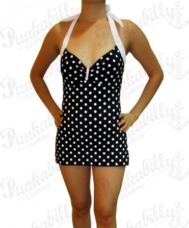 Black Vintage Rockabilly Swimwear with Polka Dots