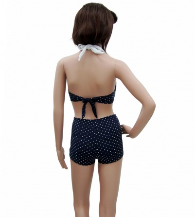 Polka Dots Navy Blue Vintage Rockabilly Bikini