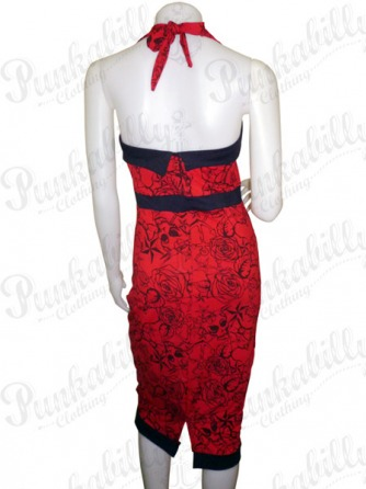 Red Rockabilly Dress with Tattoo Print & a Bow