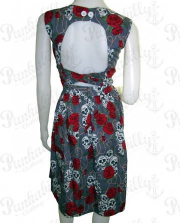 Gray Skulls & Rosses Rockabilly Dress
