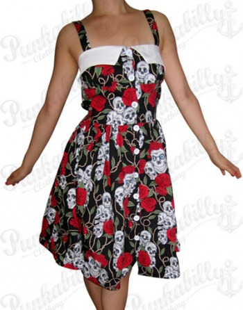 Skulls & Roses Rockabilly Dress with White Buttons