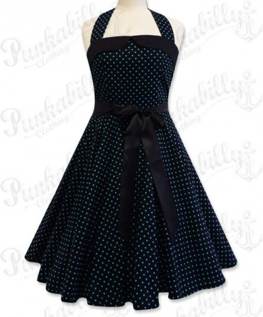 Black swing dress with small blue polka dots