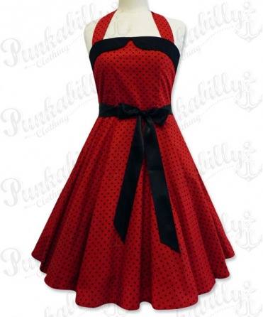 Red swing dress with black polka dots
