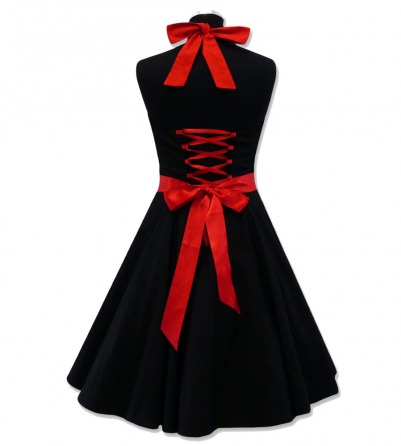 Heart Shape Black & Red Rockabilly swing dress