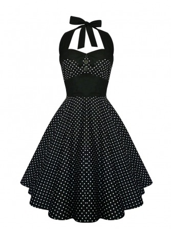 Classic black and white polka dot swing dress