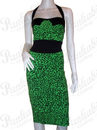 Green Rockabilly Leopard Dress
