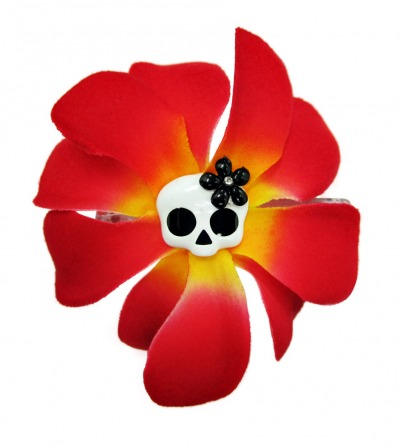 Red and Yellow Rose & Skull Hair Pin
