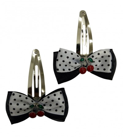 Black & White Polka Dots Hair Pin with Cherry
