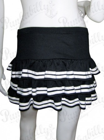 Black with White stripes Punk Rock Skirt