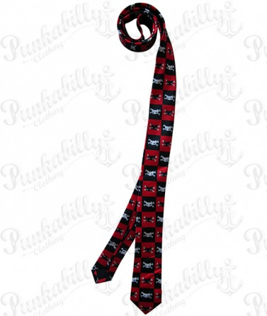 Crossbones Cat Punk Tie