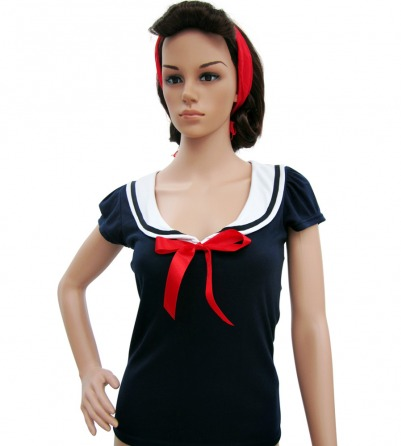 Navy Blue Sailor Top & Red Ribbon