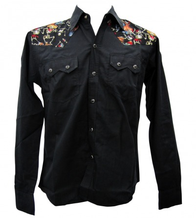 Mexican Skulls Party Long Sleeve Work Shirt