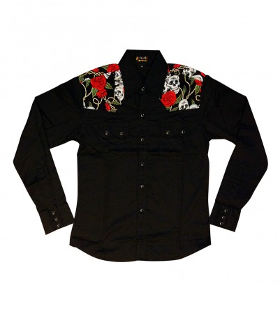 Skulls & Roses Long Sleeve Work Shirt