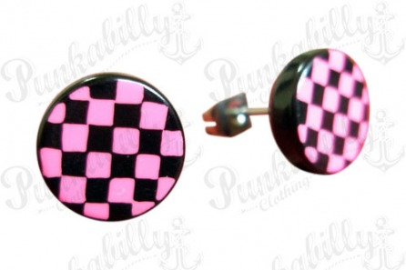 Pink & Black Check Ear Studs