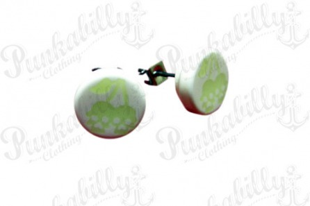 Glow In The Dark Cherry Skulls Ear Studs