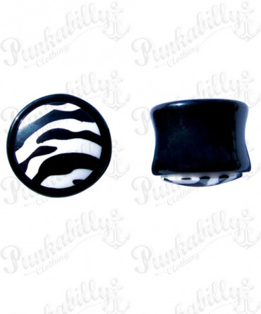 Black & White acrylic plug with enamel zebra design