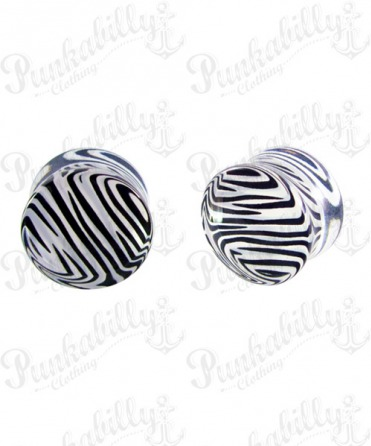 Black And White Acrylic Zebra Plug