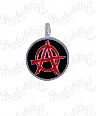 Round Pendant with Red Anarchy Symbol