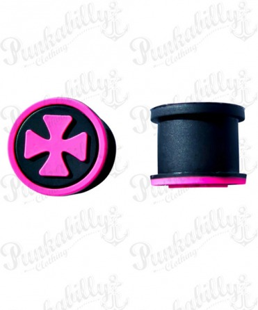 Pink Iron Cross Design Silicone Plug