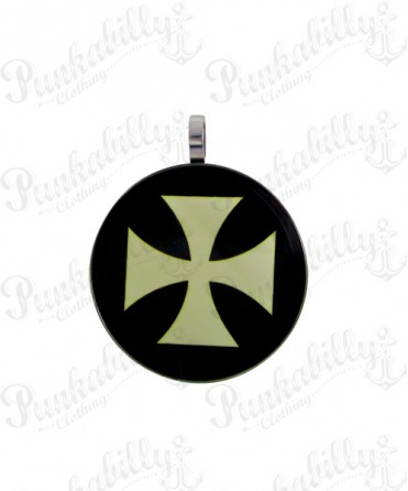 White Iron Cross Stainless steel Pendant