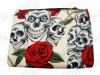 Cream Rockabilly Pouch with Skulls and Rosses