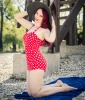Vintage style red swimsuit with white polka dots